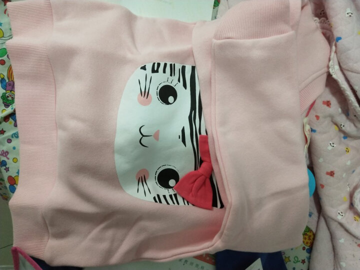 馨颂 女童卫衣儿童绒里长袖上衣中大童加绒加厚保暖运动衫外套 G163A 粉色 110 晒单图