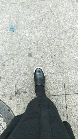 艾梵图女鞋真皮镂空透气休闲鞋套脚女士凉鞋隐形内增高平底乐福鞋 黑 色 36 晒单图