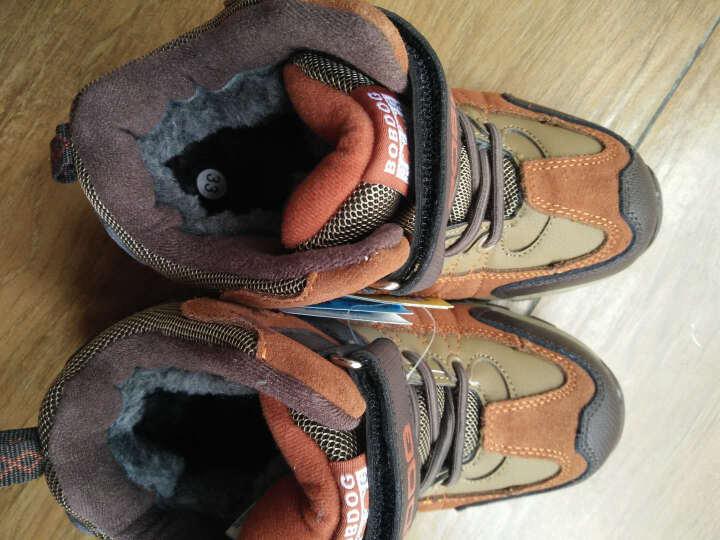 巴布豆(bobdog) 童鞋男童棉鞋加毛加厚棉鞋户外鞋登山鞋 2017冬款儿童棉鞋全能鞋 黑宝兰(加大一码购买) 33码/内长21CM 晒单图