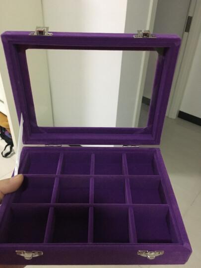 萌碎木质翻盖24格耳钉盒子首饰耳环收纳盒饰品展示盒托盘珠宝箱化妆首饰盒饰品整理盒韩版收纳盒 紫色小号12格箱 晒单图