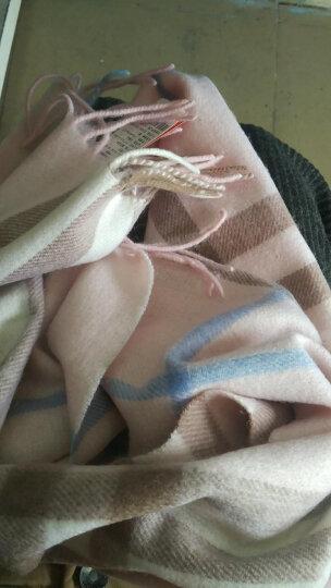 上海故事羊毛围巾女秋冬格子经典羊毛围脖男情侣款 围巾女冬  177070 粉色 晒单图