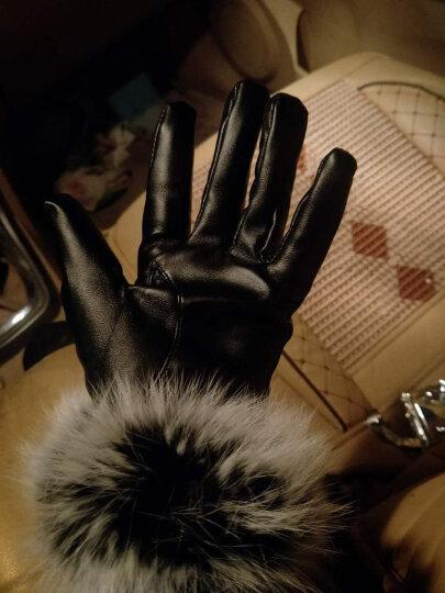 授人渔手套女款冬季韩版可爱兔毛口加绒防寒骑车手套 黑色 晒单图