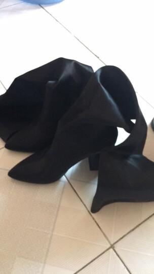 AIMIGAO爱米高时尚女鞋 丝绸弹力尖头粗高跟弹力靴时装袜套靴过膝长靴 黑色 35 晒单图