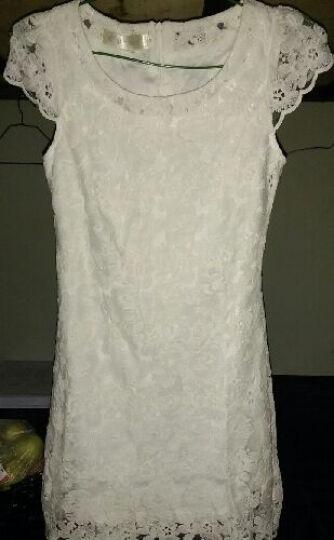 锦澜伊悦新款珍珠项链淑女蕾丝钩花朵白色仙女连衣裙短款气质甜美改良旗袍日常礼服伴娘 白色 M 晒单图