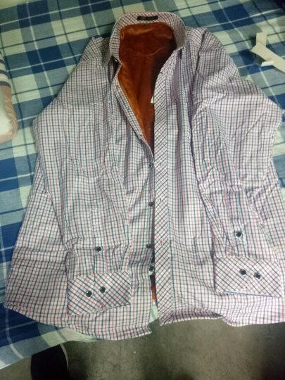 保罗琼诗 秋冬长袖衬衫中年男士保暖衬衫男加绒加厚印花格子商务衬衣 026 40 晒单图