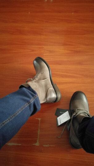 欧伦堡 男靴冬季男鞋高帮加绒保暖棉鞋头层牛皮鞋子男马丁靴子男士英伦时尚军靴雪地靴 不加绒灰色 41 晒单图