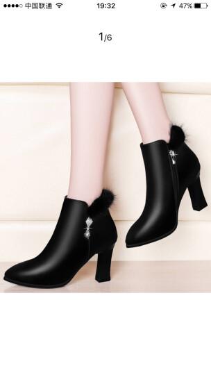 盾狐2018新款短筒女靴粗跟尖头水钻加绒高跟女短靴防水台裸靴时尚袜靴 DH6951黑色 38 晒单图