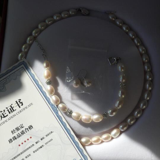 福钰润品牌淡水米珠椭圆珍珠项链强光细微瑕送妈妈白色粉色送妈妈女友岳母婆婆母亲节生日礼物 白色 9-10mm 43cm 晒单图