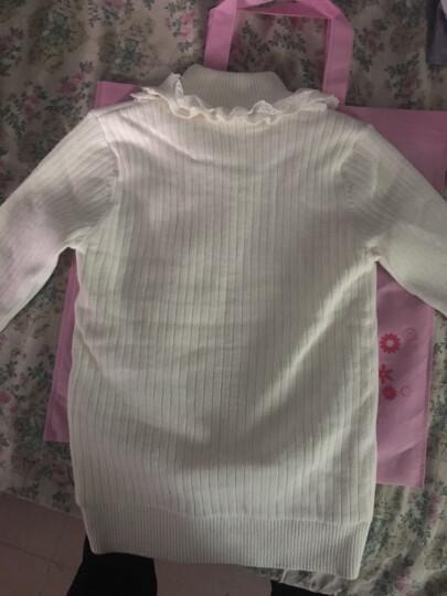 童星闪闪(MORSAISTAR) 女中大童毛衣小孩韩版秋冬新款黑色针织衫上衣 白色加绒双层蕾丝爱心毛衣 150 晒单图