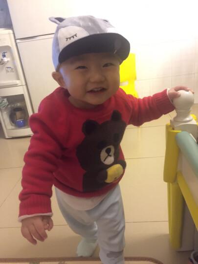 婴儿帽子春秋纯棉宝宝帽6-12-24个月全棉保暖帽儿童帽子鸭舌帽 灰色(鸭舌狐狸套装) 晒单图