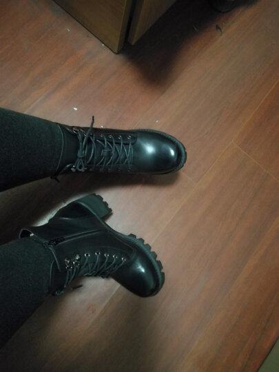 Teenmix/天美意冬专柜同款牛皮优雅简约粗跟马丁靴女短靴6E845DD6 黑色 36 晒单图