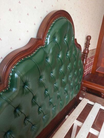 美倍 美式床 实木床 双人床1.8米 1.5米美式乡村床复古拉扣皮床 奢华卧室家具现货 新美式仿古蓝色皮 1.8M框架结构 晒单图