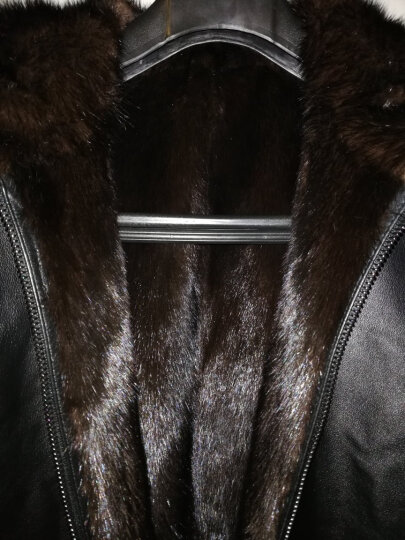 索图奴蒙正品专柜软牛皮皮衣 头层牛皮皮毛一体男装真皮皮衣男士进口整貂内胆连帽皮草外套新款 黑色 175 / XL 晒单图