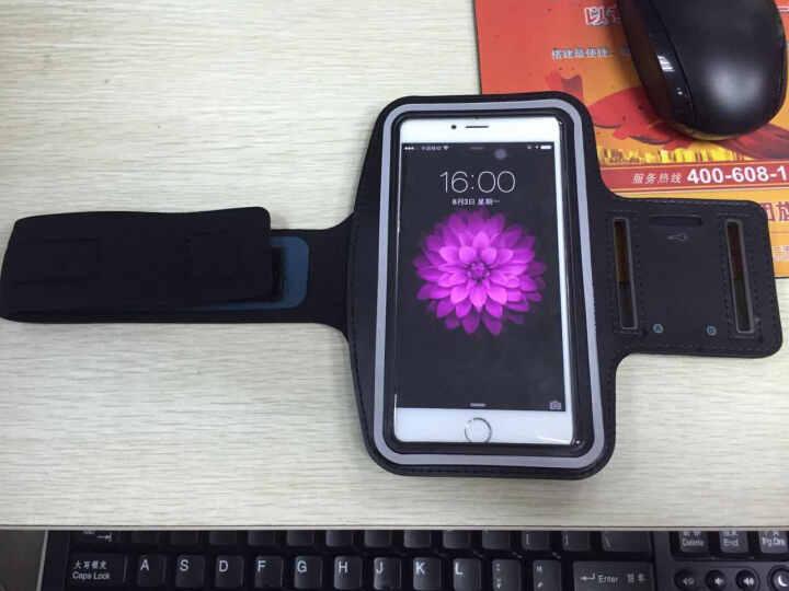 kmoso 苹果iPhone6plus运动臂带 防水跑步臂包臂袋透气臂套 白色 晒单图