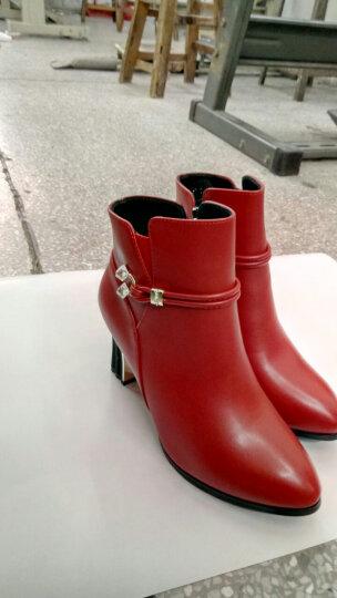 百年纪念高跟鞋女粗跟短靴女鞋秋冬季2018新款百搭加绒靴子马丁靴黑色尖头女鞋 1512红色 39 晒单图
