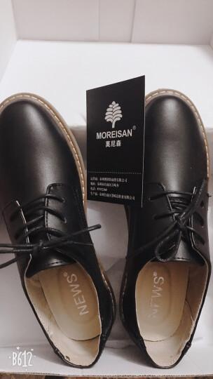 莫尼森女鞋真皮休闲鞋女孕妇鞋学生鞋单鞋平跟平底小皮鞋女系带 黑色 41 晒单图