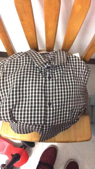 阿仕顿 男士时尚简约休闲棉质格子长袖衬衫 深蓝180/XL A14316171 晒单图