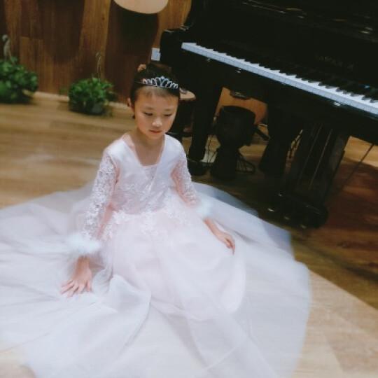 儿童婚纱礼服公主裙长袖花童钢琴走秀演出服秋冬季女童长款晚礼服 粉红色 150cm 晒单图