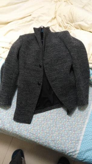 轩航毛呢大衣男中长款2018秋冬季休闲毛呢子大衣外套 韩版修身 1563蓝色 M 晒单图