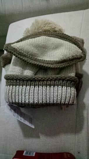 杰英仕帽子女冬天韩版保暖护耳棉口罩毛线帽骑车加绒包头围脖冬季针织帽 深黑色 晒单图