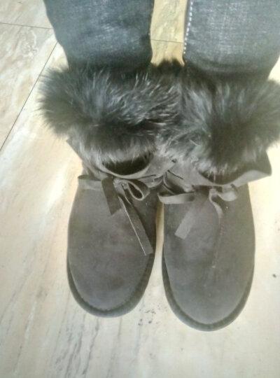 雪地靴女真牛皮加厚绒保暖防滑圆头短靴女平底保暖棉鞋 黑色(标准码数) 40 晒单图