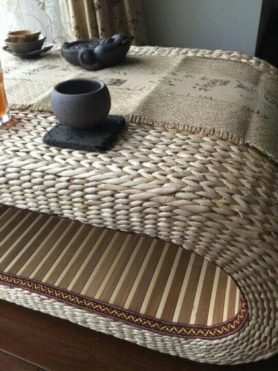 思侬移动小茶几桌 茶桌椅组合 天然蒲草手工藤编飘窗桌窗台桌地台矮桌茶艺桌 茶桌80*50*35cm+60cm蒲团坐垫X2 晒单图