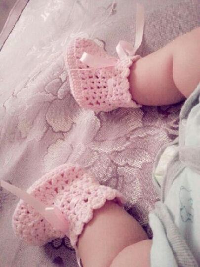 咖帝乐思 婴儿鞋0 1岁学步鞋 纯棉手工毛线编织 宝宝手钩鞋春秋防滑学步鞋 女 浅粉色 晒单图