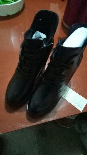 高跟短靴女靴粗跟冬季女鞋高跟靴裸靴加绒保暖马丁靴子女士防水台厚底踝靴矮筒靴 6320黑色 37正码 晒单图