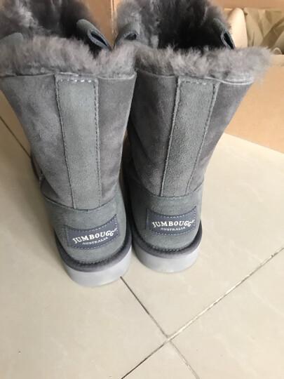 简帛澳洲羊皮毛一体雪地靴女保暖防滑中筒靴5026 灰色 38 晒单图