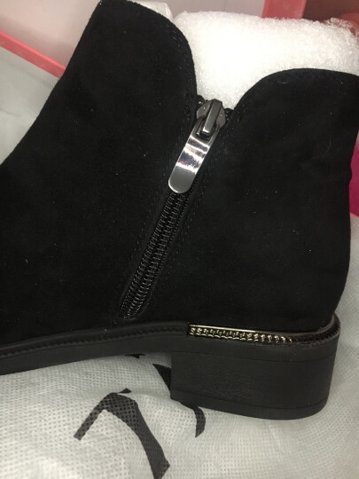 Tata/他她冬时尚简约拉链方跟及踝靴女短靴20666DD7 黑色(羊皮皮里) 35 晒单图