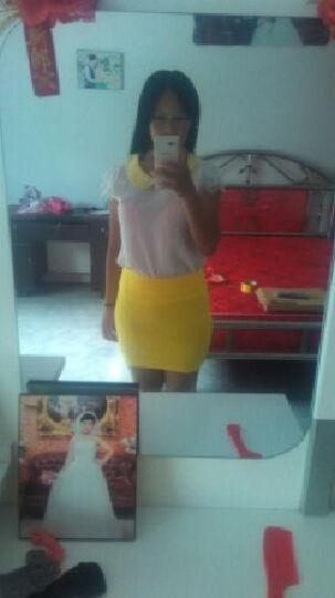 mineeor2016春夏秋季新款韩版迷你性感短裙一步a字半身裙女大码糖果色彩色包臀 亮黄色 加长-45公分 晒单图