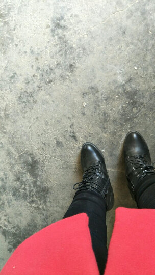 莱卡金顿粗跟短靴女 冬季女鞋 高跟女靴加绒保暖马丁靴女 靴子女 单里灰色 37正码 晒单图