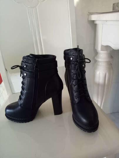 莱卡金顿粗跟短靴女 冬季女鞋 高跟女靴加绒保暖马丁靴女 靴子女 加绒黑色 40正码 晒单图