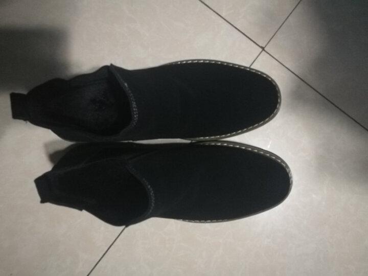 拉蒂公牛 棉鞋男鞋休闲鞋中帮冬季加绒保暖时尚反绒皮商务靴子 黑色(冬款棉鞋) 41 晒单图