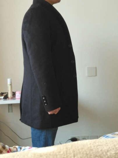 潮牌ins富贵鸟羊毛呢大衣男2017冬季保暖加厚中长款风衣中青年男士商务休闲呢子大衣外套男装 藏蓝色 XL 晒单图
