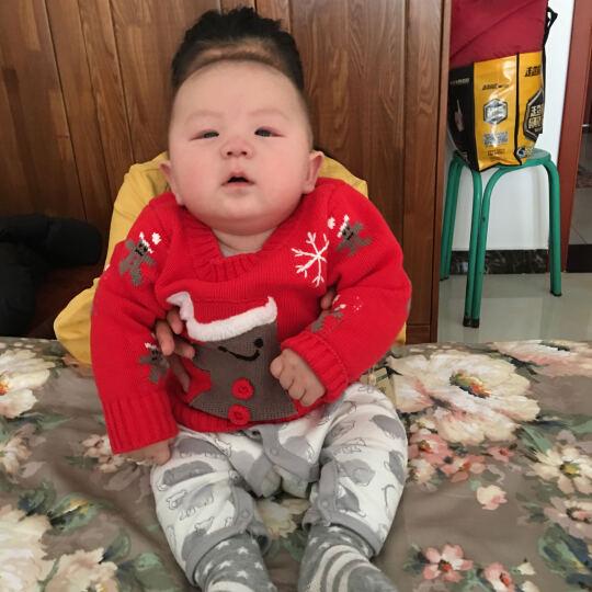 齐齐熊(ciciibear) 新款婴儿圆领毛衣纯棉针织衫卡通圣诞帽宝宝打底保暖上衣 红色 90cm(24M建议身高84-90cm) 晒单图
