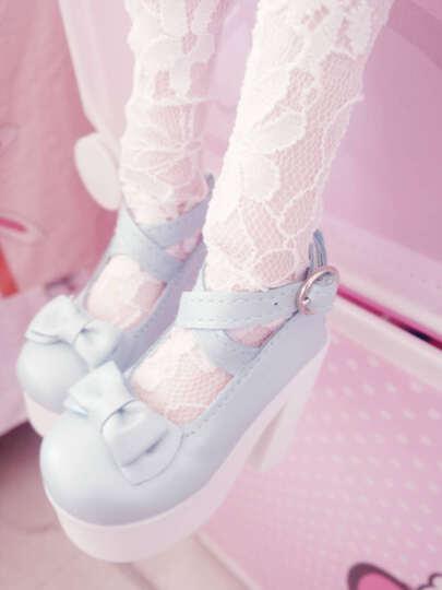 60厘米娃娃鞋子配件三分娃换装运动鞋拖鞋高跟鞋儿童玩具适用三分娃换装女鞋时尚公主鞋子 蓝蝴蝶结高跟鞋 晒单图