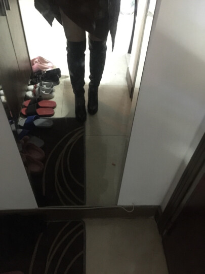 皇美婷粗跟过膝长靴高跟长筒女靴子2019秋冬季新款高筒骑士靴女鞋 1099棕色 39 晒单图
