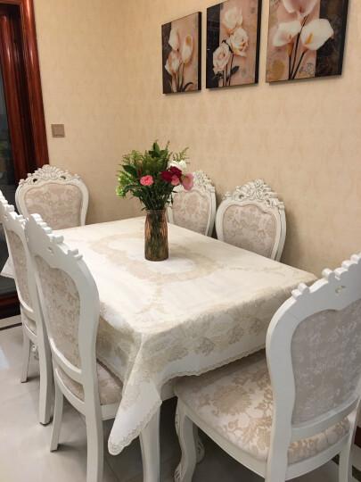 布蓝格 桌布欧式防水防油进口环保PVC免洗餐桌布加厚蕾丝餐桌垫 米色 132*180cm 晒单图