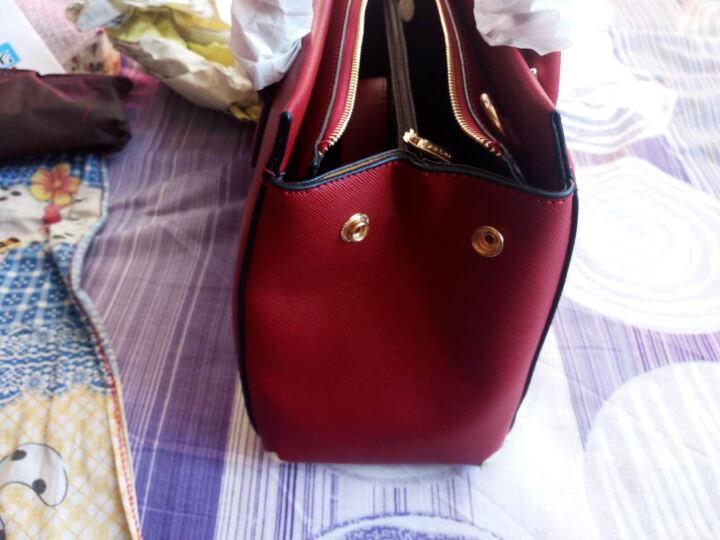 红客 新款女包手提包女子母包欧美时尚单肩包定型斜挎包三件套大包9226 酒红色 晒单图