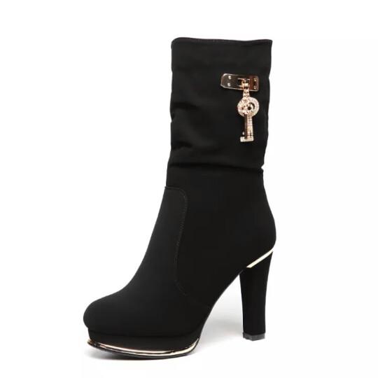 千娇蝶(QIANJIAODIE) 千娇蝶女鞋冬季新款女靴加绒保暖时尚女士高跟鞋休闲鞋 6973-35黑色 37 晒单图