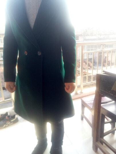 婉睿100%澳毛双面呢大衣2018秋冬季新款双排扣羊毛呢子毛呢外套女潮 瓷绿(A版) XL 晒单图