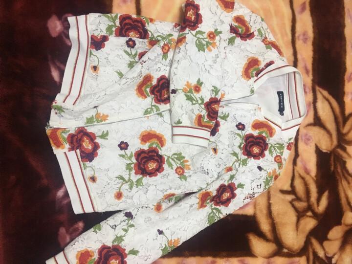 颜域品牌女装2018春装复古蕾丝绣花棒球领短外套拉链小开衫女00P7105 红花 L/40 晒单图
