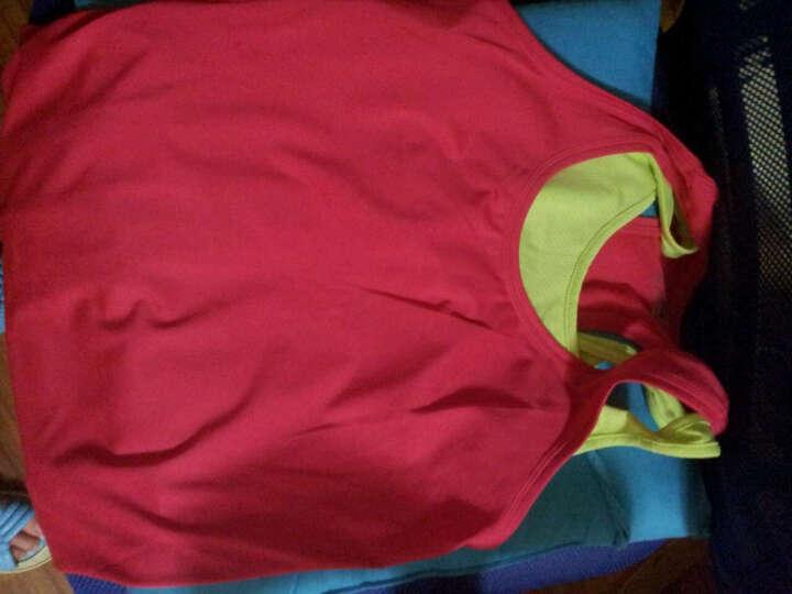 佐纳(ZOANO) 春秋款 女  瑜伽跑步 健身服双层假两件 修身无胸垫 运动背心 樱桃红/冰草黄 L 晒单图