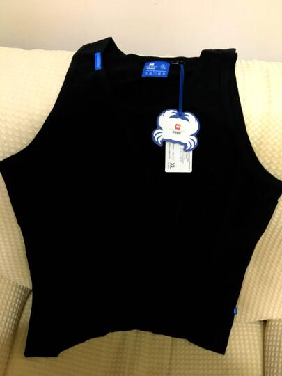 螃蟹秘密男士背心有机棉质修身型背心紧身运动健身打底背心男夏季家居服 有机灰蓝边 L 晒单图