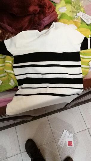 茜暖 针织衫女2017秋冬新品修身黑白条纹圆领毛衣女长袖套头打底衫上衣1888 白色 XL 晒单图