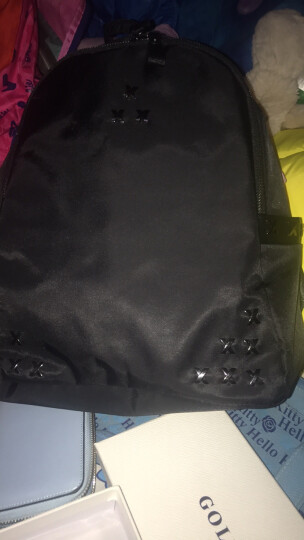 GOLF女士双肩包女高密度防泼水背包女新款时尚潮流女包学院风布包学生书包 时尚黑色 晒单图