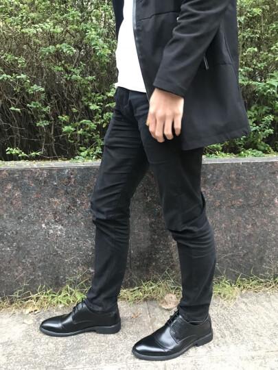 芭步仕春季新款男鞋经典皮鞋男爸爸鞋真皮牛皮系带时尚商务休闲鞋 黑色-标准码 41 晒单图