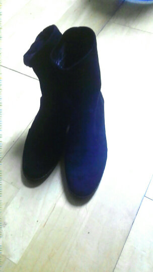 satchi沙驰女鞋新款套脚加绒百搭袜靴 烫钻修脚中跟短靴保暖靴D843515P 黑色-加绒 38 晒单图