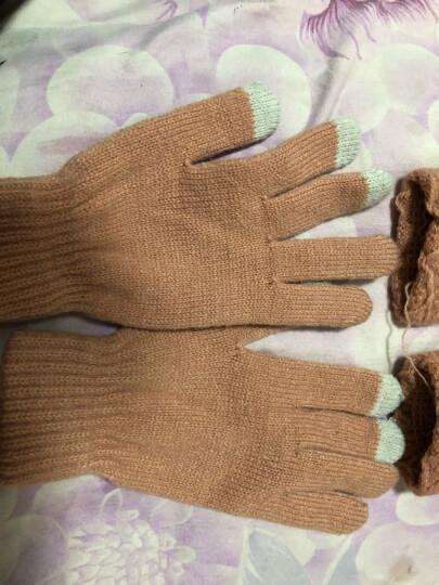 卡兰薇触摸屏手套韩版学生可爱全指骑车针织手套两种戴法 粉色 晒单图
